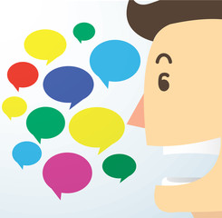 man cartoon talk and colorful chat box background
