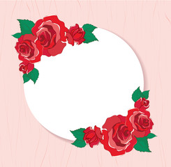 valentines greeting card with red roses background illustration