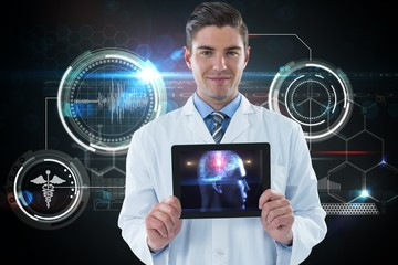 Composite image of doctor showing digital table