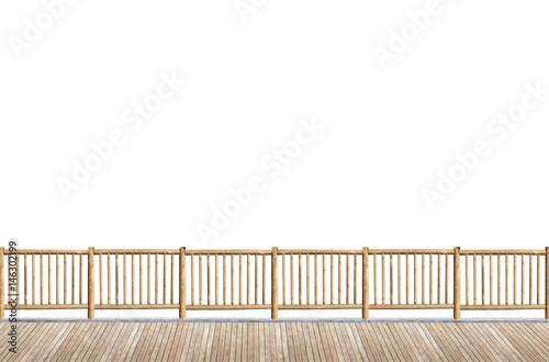 Terrasse Avec Garde Corps En Rondins De Bois Fond Blanc