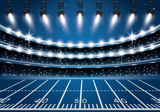 American Football Stadium Arena with Spotlights.