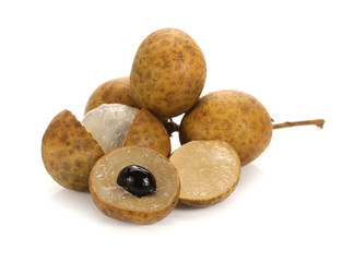 A round bunch of Longan isolated on white background