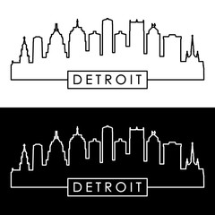 Detroit skyline. Linear style.