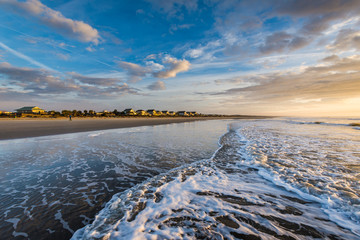Skyline of beach homes at Isle of Palms, in Charleston South Carolina at sunrise