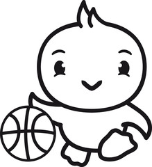 baketball spielen spaß sport ball dribbeln küken süß niedlich klein baby kind ente vogel comic cartoon