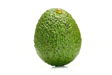 Close up of organic avocado on white