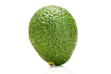 Close up of organic avocado on white