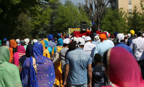 Procession of Sikh religion people with many families  during th