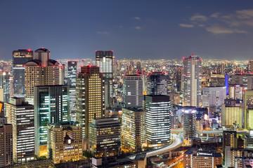 Osaka city night lights, Japan cityscape background
