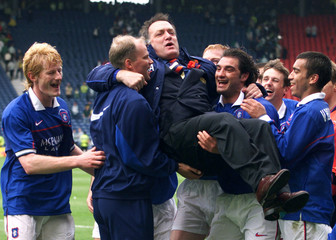 RANGERS LIFT MANAGER ADVOCAAT AFTER WINNING SCOTTISH CUP.