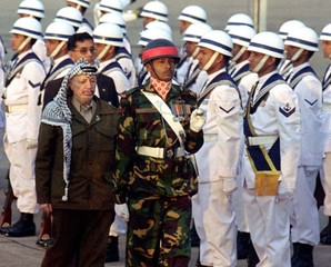 ARAFAT INSPECTS GUARD OF HONOUR IN DHAKA.