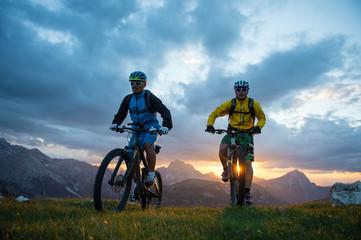 sunset and mountain biking