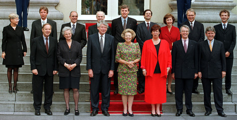 "The new Dutch Ministers pose with Queen Beatrix on the stairs of palace ""Noordeinde"" in The Hague Au.."