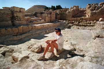 Ania Zhukov, whose father works on restoring frescoes at the site of Herodian, sits in the recently ..
