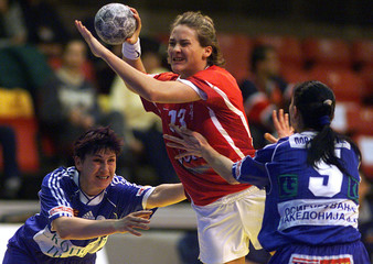 DANISH KLAERSKOU FIGHTS FOR THE BALL DURING WOMEN'S EUROPEAN HANBALL CHAMPIONSHIPS MATCH ...