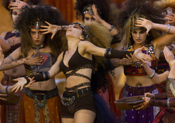 Israeli dancers perform May 11 night during the filming of a song interval to be presented during Eu..