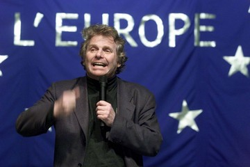 Green Party leader Daniel Cohn-Bendit gestures as he delivers a speech at a European elections meeti..
