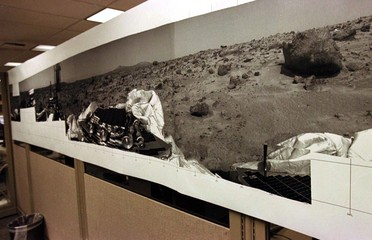 A large mural size mosaic black and white image from the Mars Pathfinder spacecraft received July 4 ..