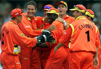 ZIMBABWE CELEBRATE BEATING SOUTH AFRICA IN WORLD CUP GAME.
