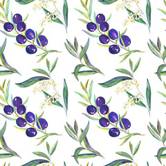Black Olive branches with fruits, flowers and leaves, seamless pattern design, hand painted watercolor illustration