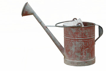 Isolated an old and rusty watering can