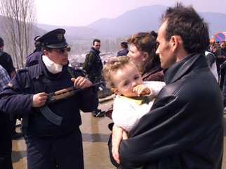 MACEDONIAN BORDER POLICE STOP ALBANIAN FAMILY AT THE BORDER WITH SERBIA.