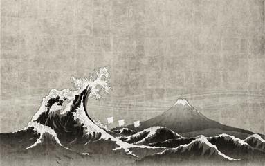 和風背景素材 大波と富士山