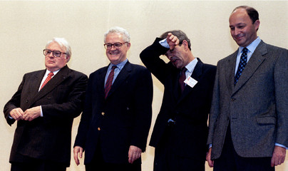 Henri Emmanuelli (2nd R) new leader of French socialist party and formers socialist leaders Laurent ..