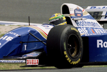 Brazil's Ayrton Senna, in a Williams, clocks a best time of one minute and 10.218 seconds in the fir..