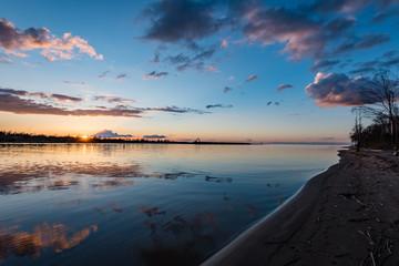 dramatic sunrise over the calm river