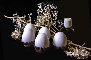 White eggs with dry white flowers,small black bottle and seashells on a black background