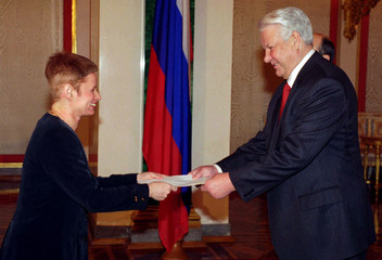 Israeli Ambassador to Russia Alisa Shenkhar presents her credentials to Russian President Boris Yelt..