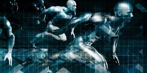 Fototapeta Men Running in Technology Background