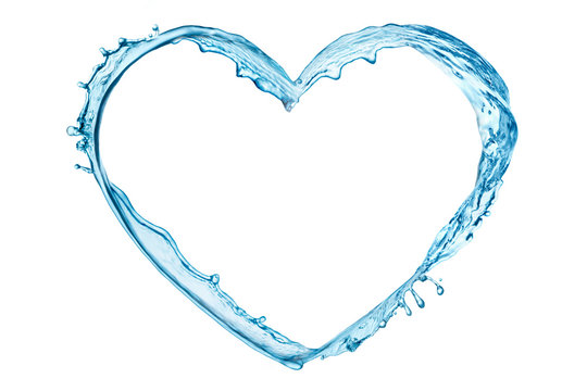Water splash in the heart shape