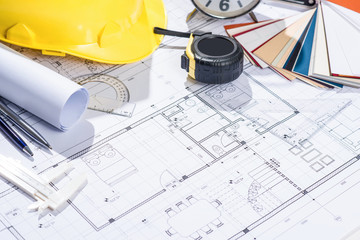 Obraz Architects workplace - architectural project with blueprints. - fototapety do salonu