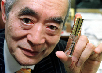 Dr. Yoshiro Nakamats, known as inventor of the floppy disk, shows off his latest invention, LoveJet,..