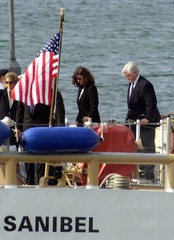 SENATOR KENNEDY ARRIVES FOR BURIAL AT SEA.