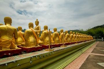 many Buddha statue buddha image used as amulets of Buddhism religion in Nakornnayok Thailand