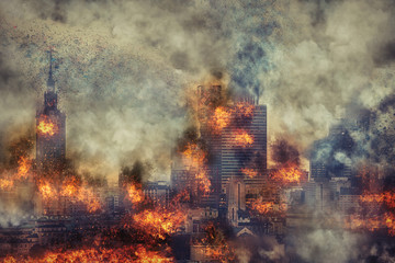 Apocalypse. Burning city, abstract vision. Photo manipulation