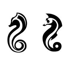 stylized black silhouettes of sea horses