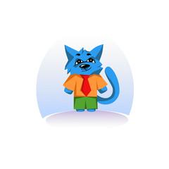 An artful blue cat