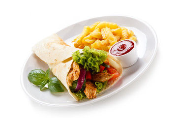 Tortilla wrap with french fries on white background