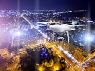 Drone flying over Thessaloniki city on blurred background.
