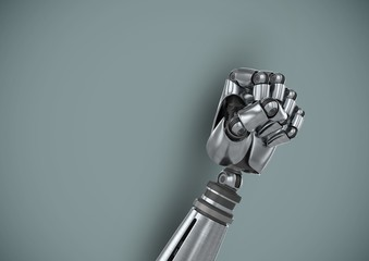 Android Robot hand fist with blue background