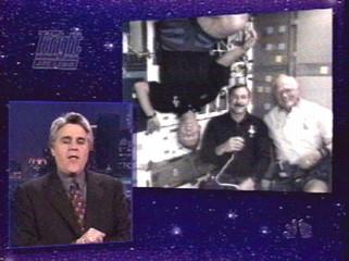 TV SHOW HOST JAY LENO JOKES WITH SHUTTLE ASTRONAUTS.