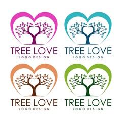 Love Tree Design Logo template