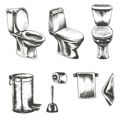 vector set of sketch illustration on a white background  toilet paper , toilet , trash can , towel