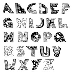 Vector English alphabet doodle type