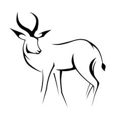 black contour deer linear image