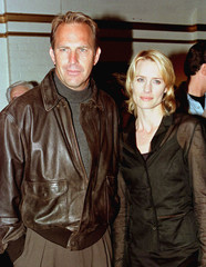Co-stars Kevin Costner (L) and Robin Wright Penn pose together at the premiere of their latest film,..